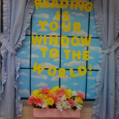 Reading Is Your Window to The World Bulletin Board Idea World Bulletin Board, Reading Bulletin Boards, Bulletin Board Display, School Bulletin Boards, Display Boards, Display Ideas, Reading Display, Library Book Displays, Library Themes