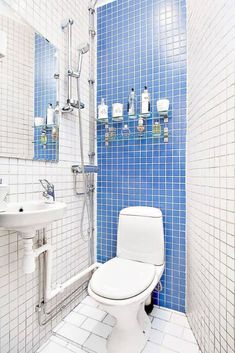 25 Tiny Apartment Bathroom Ideas that Maximize Space and Efficiency Super-tiny blue and white bathro Small Bathroom Sinks, Small Sink, Tiny Bathrooms, Bathroom Wall Art, Bathroom Design Small, Diy Bathroom Decor, Bathroom Shelves, Bathroom Styling, White Bathroom