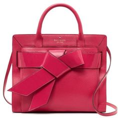 adorable Kate Spade raspberry leather satchel with patent bow