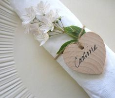 Set Of Five Wooden Heart Wedding Place Names