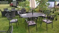 Metal garden set for 6 in Kent. http://outsideedgegardenfurniture.co.uk/metal-garden-furniture-range/