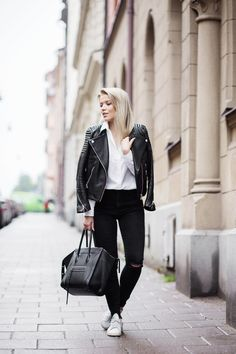 leather jacket / H&M  shirt / Gina Tricot  jeans / Zara  bag / Celine shoes / Adidas