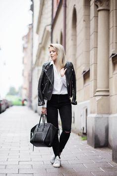 2015  jacket / H&M / shirt / Gina Tricot ( *  jeans / Zara)  bag / Celine  shoes / Adidas