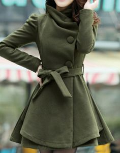 Lapel in the long cloth-Trench Coats Trench Coats from stylishplus.com