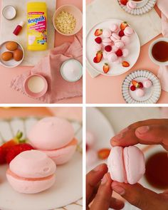 Strawberry Macarons Recipe, Macaroon Recipes, Strawberry Milkshake, Halal Recipes, Healthy Dessert Recipes, Fun Desserts, Sweet Recipes, Tea Time Snacks, Dessert Drinks