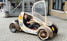 Vehicle made of plywood and cardboard powered by hydrogen fuel cell.