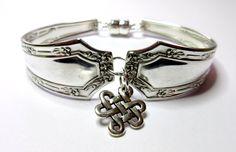 Antique Silverware Bracelet 1915 Alpha by Fairfield Plate by JillieBeadz on Etsy