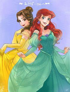 Disney Princesses- Belle and Ariel Walt Disney, Cute Disney, Disney Dream, Disney Girls, Disney Magic, Ariel Disney, Disney Cruise, Ariel Ariel, Disney Cartoons