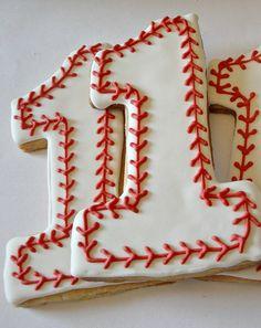 Baseball Cookies Large Number One Birthday Cookies Decorated Sugar Cookies Party… Galletas Cookies, Iced Cookies, Cute Cookies, Royal Icing Cookies, Cupcake Cookies, Sugar Cookies, Heart Cookies, Baby Cookies, Flower Cookies