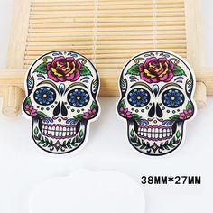 50pcs Cartoon Tattoo Peony Flower Skull Head Resin Flatback Kawaii DIY Planar Resin Craft for Home Decoration Accessories DL-548