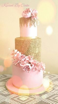Three Tier Pink And Gold Wedding Cake Tier Wedding Cakes