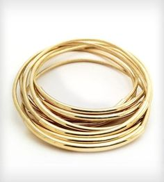 Gold Leather Bangle Bracelets by Leather Wraps on Scoutmob Shoppe