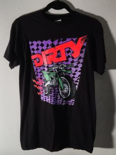 DIRTY Neon Dirt Bike Print on Black Tee