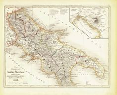 """""""Das Koenigreich beider Sicilien Noerdliche Haelfte Abruzzo,Terra di Lavoro, Apulien und Calabrien 1849"""" In the upper right is a detailed inset showing the Bay of Naples and Mt. Vesuvius. Steel engraving published in Meyer's Atlas 1851. Original antique print  For a 30% discount enter MAPS30 at chekout Original borde Antique Maps, Antique Prints, House Map, Volcano, Sicily, Naples, Hand Coloring, Vintage World Maps, Steel"""