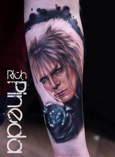 My new tattoo: David Bowie aka Jareth aka the Goblin King from Labyrinth. By Rich Pineda. I'm in love with it!