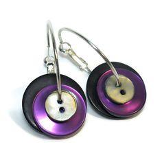 Button Hoop Earrings in Purple, Silver, Black