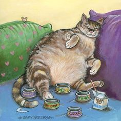 Fat cat pictures are very popular among cat lovers. What is it about fat cats that makes them so lovable? Here are some pictures of fat cats. I Love Cats, Crazy Cats, Cool Cats, Animals Watercolor, Watercolor Painting, Gary Patterson, Gatos Cats, Cat Posters, All About Cats