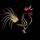 New year holiday card. Stylized cock on a black background. 2017 fiery red rooster. illustration — Stock Illustration #131190318