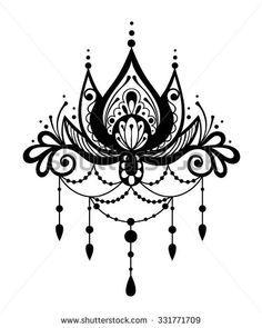 vektorgrafik henna tattoo flower template in indian style ethnic paisley lotus ornament. Black Bedroom Furniture Sets. Home Design Ideas