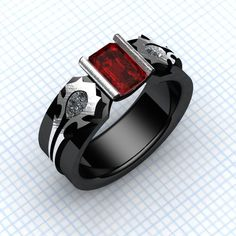 Men's Steampunk  WOW Ring, Horde Engagement Ring, HordeMy Love Gamer Ring, Ruby Gamer Ring, (great ring even if I don't play horde.)