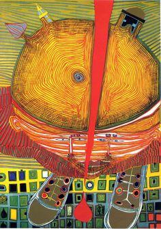 FRIEDENSREICH HUNDERTWASSER http://www.widewalls.ch/artist/friedensreich-hundertwasser/ #modernart #painting #architecture
