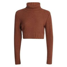 Nicole Turtle Neck Crop Jumper ❤ liked on Polyvore featuring tops, sweaters, cropped sweater, cropped jumper, turtle neck jumper, brown top and turtleneck tops