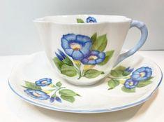 Shelley Tea Cup and Saucer Morning Glory Pattern Number Vintage China, Vintage Tea, Blue Morning Glory, Rim, Royal Tea, Antique Tea Cups, Fine Porcelain, Tea Cup Saucer, Etsy