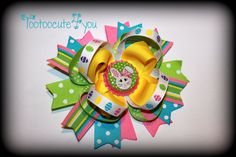 Easter  Hair bow  bright and colorful boutique by tootoocute4you