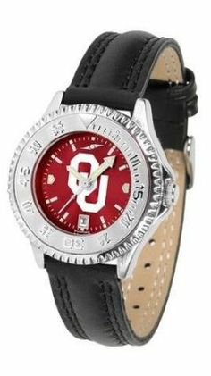 Oklahoma Sooners Ladies Leather Wristwatch by SunTime. $78.95. Water Resistant. Poly/Leather Band. Officially Licensed Oklahoma Sooners Ladies Leather Wristwatch. Adjustable Band. Women. Oklahoma Sooners Ladies Leather Wristwatch with AnoChrome face. The Sooners wrist watch has functional rotating bezel color-coordinated with team logo. A durable, long-lasting combination nylon/leather strap, together with a date calendar make this the ultimate watch to have. The AnoChrome dial o...