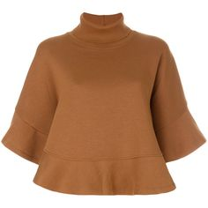 See By Chloé turtleneck flared sleeve top (310 AUD) ❤ liked on Polyvore featuring tops, brown, short bell sleeve tops, brown top, turtleneck short sleeve top, short sleeve turtleneck and turtle neck top