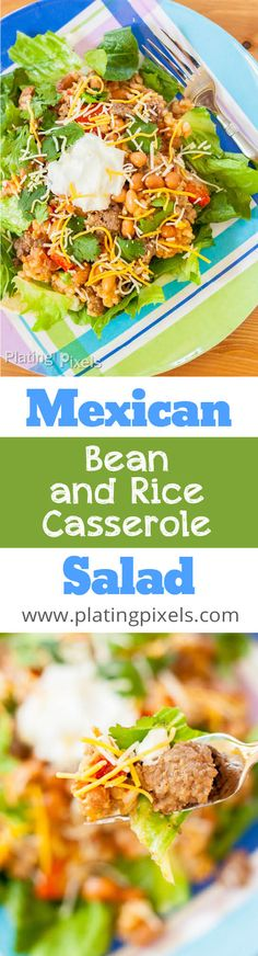 Quick and easy Mexican Bean and Rice Casserole Salad by Plating Pixels. Just cook meat and rice, and assemble with vegetables and spices. Serve over lettuce as a salad. - www.platingpixels.com