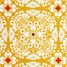 yellow flower fabric with flower ornaments Michael Miller