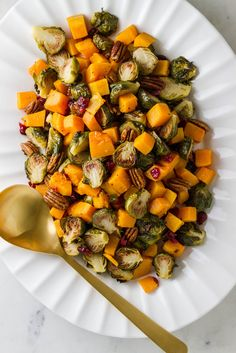 ROASTED BRUSSELS SPROUTS & SQUASH W/ CRANBERRIES & PECANS