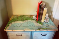 Map Cabinet 2-canvas map decoupaged onto an old dresser-2 tone blue