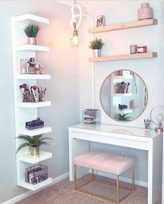 8 Effortless DIY Ideas To Organize Makeup According To Your .- 8 Effortless DIY Ideas To Organize Makeup According To Your Personality Type. M… 8 Effortless DIY Ideas To Organize Makeup According To Your Personality Type. My New Room, My Room, Room Art, Home Design, Interior Design, Design Ideas, Diy Design, Storage Design, Cute Room Decor