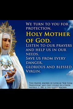 Sub Tuum Praesidium prayer