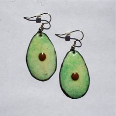 Avocado earrings / copper enamel jewelry / by kickglassenamels
