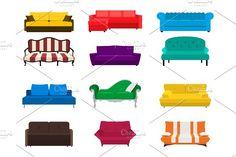 Vector sofa set. by gomolach on @creativemarket