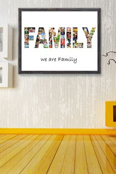 Family Picture Collage-Family Gift-Word Picture Collage-Home