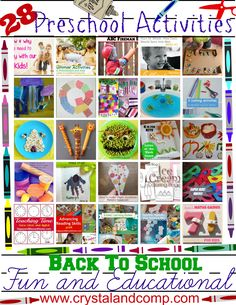 28 Fun and Educational Preschool Activities For Back To School...Where did I get these creative and fun educational ideas  from, you ask? These are all from Crystal & Co. readers and from their submissions to our weekly blog linky party on Wednesday's.