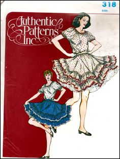 Authentic Patterns Inc.  # 318  Ladies Square Dance Skirt And Peasant Blouse  (6-10)  UNCUT by ThePatternShopp on Etsy