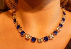 Necklace Georgian Stunning Necklace Blue White Paste Stones Gold and Silver