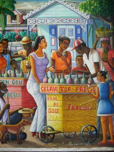 Fresco Cart, 1990s, by Andre Normil. Oil on Canvas. Description: A neighborhood crowd gathers around a colorful fresco cart for a chance to cool off and catch up with friends. An old man and his dog sit by hoping to catch some coins. Normil paints the Haiti of his youth. Haitian Art