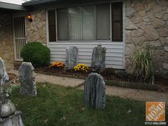 amazing diy halloween yard decorations mums mulch and faux tombstones begin the transformation - Diy Halloween Yard Decorations
