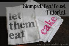Stamped Tea Towel Tutorial
