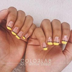 50 Gorgeous Yellow Acrylic Nails to Spice Up Your Fashion - Nail art Yellow Nails Design, Yellow Nail Art, Clear Nails With Design, Acrylic Nail Designs, Nail Art Designs, Acrylic Nails, Clear Nail Designs, Minimalist Nails, Natural Nails