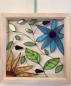 Your place to buy and sell all things handmade - Exotic Flowers Stained Glass Framed Window Panel Stained Glass Frames, Stained Glass Paint, Stained Glass Flowers, Stained Glass Designs, Stained Glass Projects, Stained Glass Patterns, Stained Glass Windows, Glass Painting Designs, Glass Wall Art