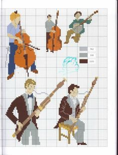 Musicians and their instruments Cross Stitch Music, Cross Stitch Cards, Cross Stitch Alphabet, Cross Stitch Samplers, Cross Stitch Patterns, Basson, Music Items, Dmc Embroidery Floss, Music Logo
