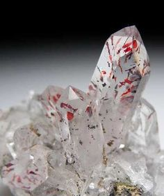 """Quartz with Lepidocrocite looks strangely like """"blood splatter"""" on the crystals...."""