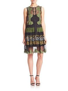 Alberta Ferretti Sleeveless Printed Cocktail Dress